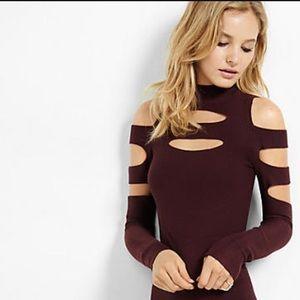 Express dark maroon cut out high neck sweater